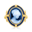 Italian Blue Agate Cameo Ring with Blue Enamel in 18kt Gold Over Sterling