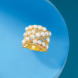 3.5-4.5mm Cultured Pearl Ring in 18kt Gold Over Sterling