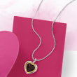 10.00 Carat Garnet Heart Pendant Necklace in Sterling Silver and 14kt Yellow Gold