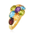 4.70 ct. t.w. Multi-Gemstone Ring in 18kt Gold Over Sterling