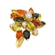 C. 1970 Vintage 8.15 ct. t.w. Multi-Gemstone and .95 ct. t.w. Diamond Cluster Ring in 18kt Yellow Gold
