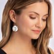10mm Cultured Pearl Circle Drop Earrings in Sterling Silver