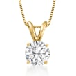 1.25 Carat Diamond Solitaire Necklace in 14kt Yellow Gold
