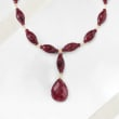 175.00 ct. t.w. Ruby Drop Necklace in 18kt Yellow Gold Over Sterling Silver