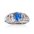 C. 1990 Vintage 1.20 Carat Sapphire and .12 ct. t.w. Diamond Ring in Platinum