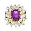 C. 1980 Vintage 1.75 Carat Amethyst and 2.50 ct. t.w. Diamond Ring in 14kt Yellow Gold