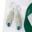 5.50 ct. t.w. London Blue Topaz and 3.30 ct. t.w. Green Tourmaline Feather Earrings in Sterling Silver