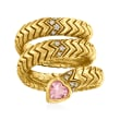 """C. 1980 Vintage Bulgari """"Serpenti Tubogas"""" .50 Carat Pink Tourmaline and .14 ct. t.w. Diamond Coil Ring in 18kt Yellow Gold"""