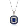 Simulated Sapphire and .52 ct. t.w. CZ Pendant Necklace in Sterling Silver