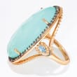 Aqua Chalcedony and .70 ct. t.w. Blue and White Topaz Ring in 18kt Gold Over Sterling