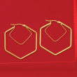 Italian 14kt Yellow Gold Geometric Hoop Earrings
