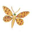 C. 1970 Vintage 1.40 ct. t.w. Ruby Butterfly Pin in 18kt Yellow Gold with Emerald Accented Eyes