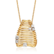 Simon G. .34 ct. t.w. Diamond Beehive Pendant Necklace in 18kt Yellow Gold