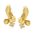 C. 1950 Vintage .15 ct. t.w. Diamond and 18kt Yellow Gold Bow Clip-On Earrings