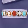 Italian Multicolored Cameo Bracelet in 18kt Gold Over Sterling