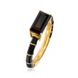 Black Onyx and Black Enamel Ring in 18kt Gold Over Sterling