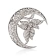 C. 1980 Vintage 2.05 ct. t.w. Diamond Crescent Moon and Leaf Pin in 18kt White Gold