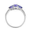 1.20 ct. t.w. Tanzanite Three-Stone Ring with Diamond Accents in 14kt White Gold