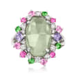C. 1990 Vintage 8.19 ct. t.w. Multi-Gemstone Ring in 18kt White Gold