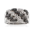 C. 1990 Vintage .50 ct. t.w. Black and White Diamond Basketweave Ring in 14kt White Gold