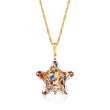 Italian Murano Glass Multicolored Star Pendant Necklace in 18kt Gold Over Sterling