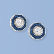 .60 ct. t.w. Simulated Sapphire and 1.00 ct. t.w. CZ Octagon Earrings in Sterling Silver