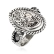 Italian Sterling Silver Cameo-Inspired Ring