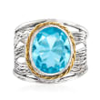 5.00 Carat Sky Blue Topaz Openwork Ring in Sterling Silver and 14kt Yellow Gold