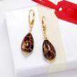 Italian Leopard-Print Murano Glass Drop Earrings in 18kt Gold Over Sterling