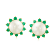 8mm Cultured Pearl and .50 ct. t.w. Emerald Earrings in 18kt Gold Over Sterling