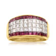 C. 1980 Vintage 2.50 ct. t.w. Diamond and 2.15 ct. t.w. Ruby Ring in 18kt Yellow Gold