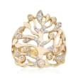 .25 ct. t.w. Diamond Coral-Shape Ring in 14kt Yellow Gold
