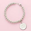 Italian 6mm Sterling Silver Bead Bracelet with Personalized Disc Charm
