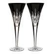 "Waterford Crystal ""Black"" Set of 2 Lismore Flute Glasses"
