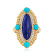 Lapis, Turquoise and .10 ct. t.w. White Topaz Ring in 18kt Gold Over Sterling