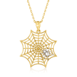 14kt Two-Tone Gold Spiderweb Pendant Necklace