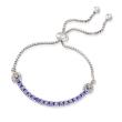 1.70 ct. t.w. Tanzanite Bolo Bracelet with White Zircon Accents in Sterling Silver