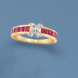 1.40 ct. t.w. Ruby X Ring with Diamond Accents in 14kt Yellow Gold