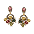 5.00 ct. t.w. Multicolored Tourmaline and .96 ct. t.w. Brown and White Diamond Drop Earrings in 18kt Yellow Gold