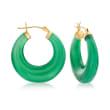 Green Agate Hoop Earrings in 14kt Yellow Gold