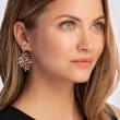 C. 2000 Vintage 1.00 ct. t.w. Diamond Leaf Drop Earrings in 18kt Rose Gold