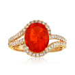 Fire Opal and .43 ct. t.w. Diamond Ring in 14kt Yellow Gold