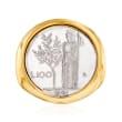 Italian Andiamo 14kt Yellow Gold Over Resin 100-Lira Coin Ring