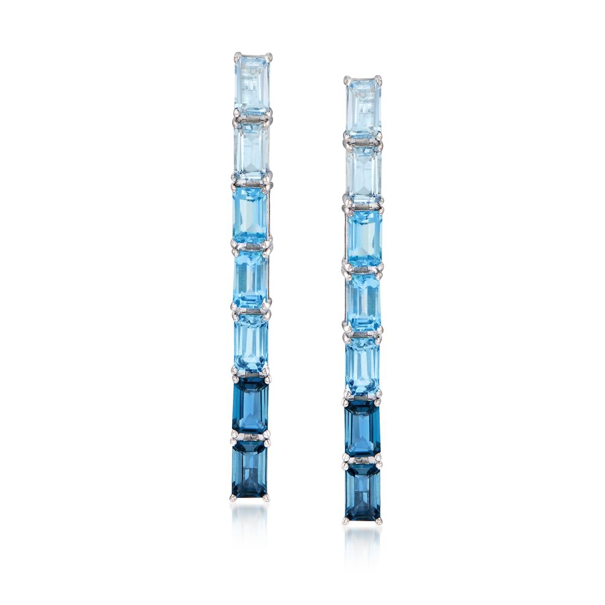 4.00 ct. t.w. Sky, Swiss and London Blue Topaz Ombre Drop Earrings in Sterling Silver | Ross-Simons