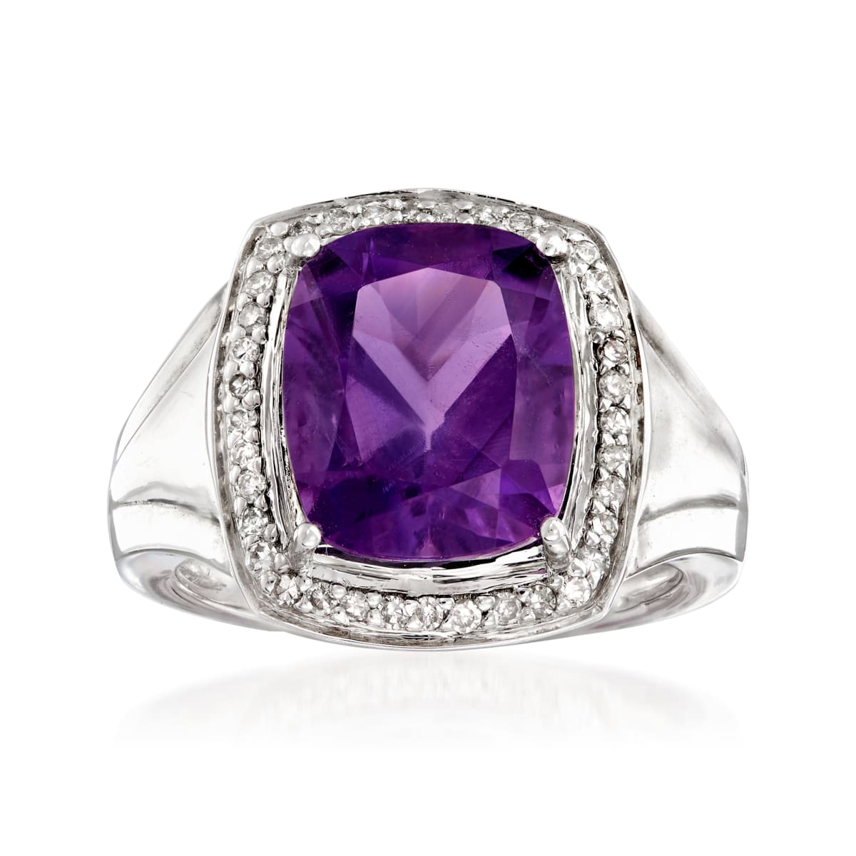 Simon Size 10 Sterling with Amethyst and Accent diamonds Ring by Ross