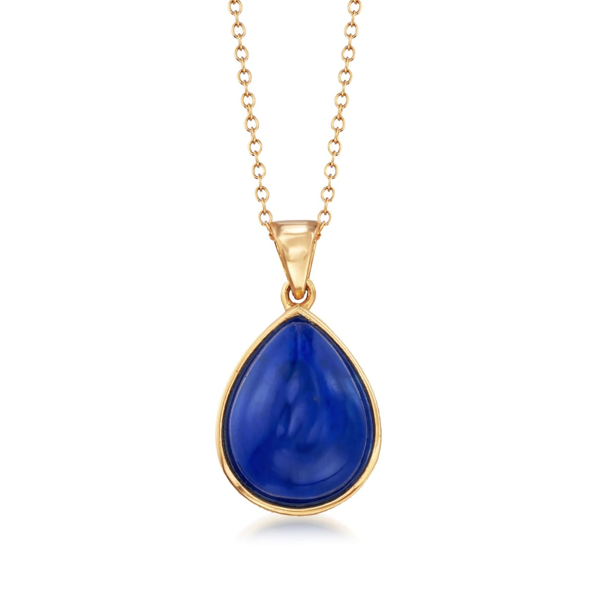 """Pear-Shaped Lapis Cabochon Pendant Necklace in 18kt Gold Over Sterling. 18"""" 