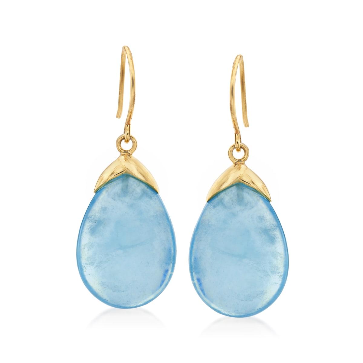 19.50 ct. t.w. Aquamarine Drop Earrings in 14kt Yellow Gold | Ross-Simons