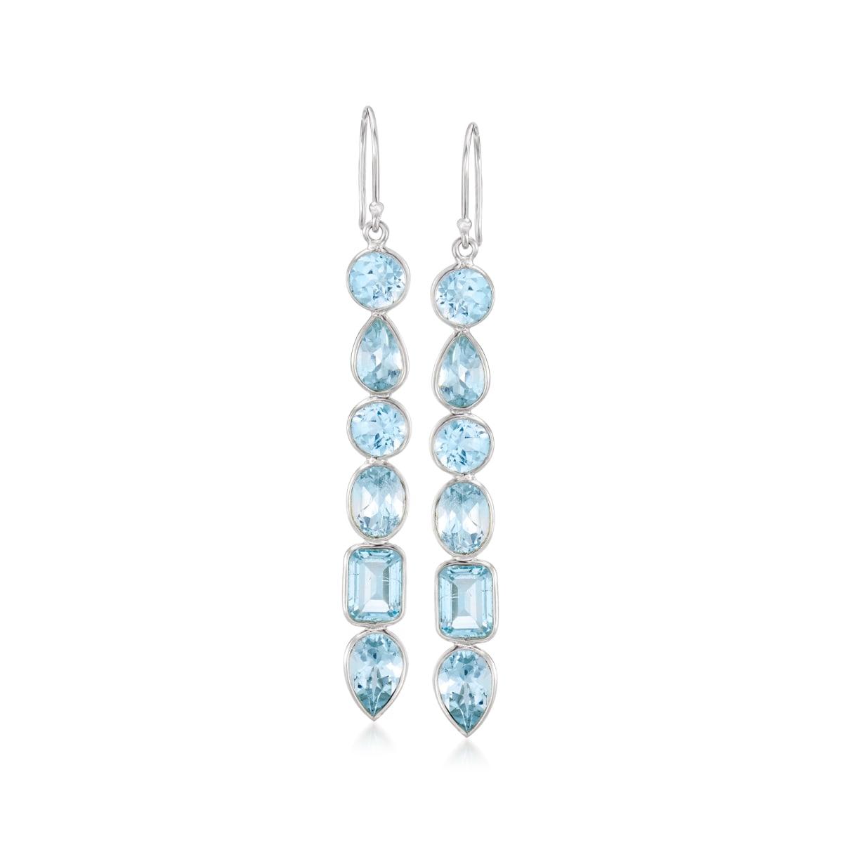 12.90 ct. t.w. Sky Blue Topaz Drop Earrings in Sterling Silver | Ross-Simons