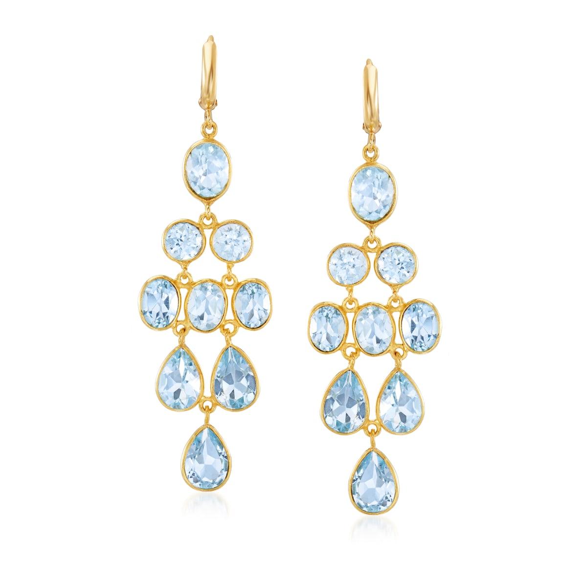 33.50 ct. t.w. Sky Blue Topaz Chandelier Earrings in 18kt Gold Over Sterling | Ross-Simons