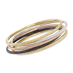 Set of Five Multicolored Sterling Silver and 18kt Gold Over Sterling Bangle Bracelets